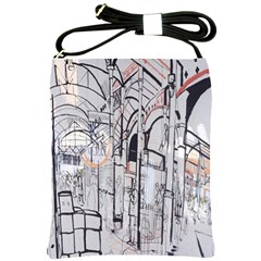 Cityscapes England London Europe United Kingdom Artwork Drawings Traditional Art Shoulder Sling Bags by Simbadda