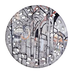 Cityscapes England London Europe United Kingdom Artwork Drawings Traditional Art Ornament (round Filigree) by Simbadda