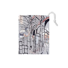 Cityscapes England London Europe United Kingdom Artwork Drawings Traditional Art Drawstring Pouches (small)  by Simbadda