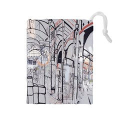 Cityscapes England London Europe United Kingdom Artwork Drawings Traditional Art Drawstring Pouches (large)  by Simbadda
