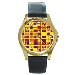 Pattern Round Gold Metal Watch by Valentinaart