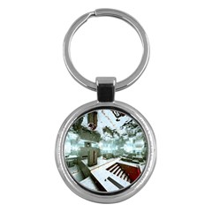Digital Art Paint In Water Key Chains (round)  by Simbadda