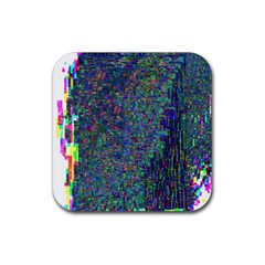 Glitch Art Rubber Square Coaster (4 Pack)  by Simbadda