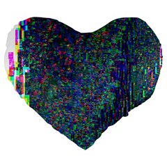 Glitch Art Large 19  Premium Flano Heart Shape Cushions by Simbadda