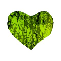 Concept Art Spider Digital Art Green Standard 16  Premium Flano Heart Shape Cushions by Simbadda