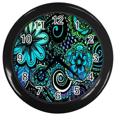Sun Set Floral Wall Clocks (black)