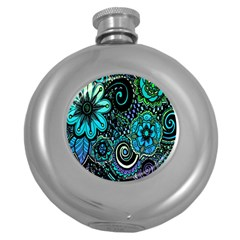 Sun Set Floral Round Hip Flask (5 Oz) by Simbadda