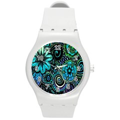 Sun Set Floral Round Plastic Sport Watch (m) by Simbadda