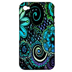 Sun Set Floral Apple Iphone 4/4s Hardshell Case (pc+silicone) by Simbadda