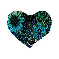 Sun Set Floral Standard 16  Premium Heart Shape Cushions by Simbadda