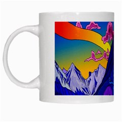 Psychedelic Colorful Lines Nature Mountain Trees Snowy Peak Moon Sun Rays Hill Road Artwork Stars White Mugs by Simbadda