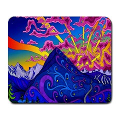 Psychedelic Colorful Lines Nature Mountain Trees Snowy Peak Moon Sun Rays Hill Road Artwork Stars Large Mousepads by Simbadda
