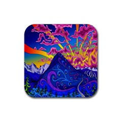 Psychedelic Colorful Lines Nature Mountain Trees Snowy Peak Moon Sun Rays Hill Road Artwork Stars Rubber Square Coaster (4 Pack)  by Simbadda