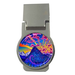 Psychedelic Colorful Lines Nature Mountain Trees Snowy Peak Moon Sun Rays Hill Road Artwork Stars Money Clips (round)  by Simbadda