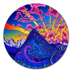 Psychedelic Colorful Lines Nature Mountain Trees Snowy Peak Moon Sun Rays Hill Road Artwork Stars Magnet 5  (round) by Simbadda