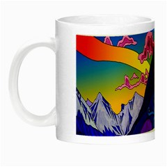 Psychedelic Colorful Lines Nature Mountain Trees Snowy Peak Moon Sun Rays Hill Road Artwork Stars Night Luminous Mugs by Simbadda