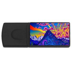 Psychedelic Colorful Lines Nature Mountain Trees Snowy Peak Moon Sun Rays Hill Road Artwork Stars Usb Flash Drive Rectangular (4 Gb) by Simbadda