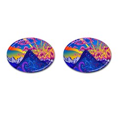 Psychedelic Colorful Lines Nature Mountain Trees Snowy Peak Moon Sun Rays Hill Road Artwork Stars Cufflinks (oval) by Simbadda