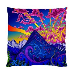 Psychedelic Colorful Lines Nature Mountain Trees Snowy Peak Moon Sun Rays Hill Road Artwork Stars Standard Cushion Case (two Sides) by Simbadda