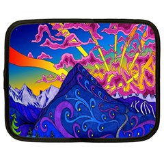 Psychedelic Colorful Lines Nature Mountain Trees Snowy Peak Moon Sun Rays Hill Road Artwork Stars Netbook Case (XXL)  by Simbadda