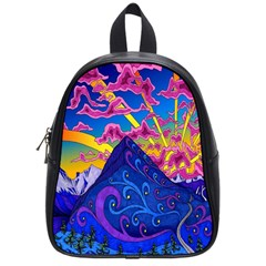 Psychedelic Colorful Lines Nature Mountain Trees Snowy Peak Moon Sun Rays Hill Road Artwork Stars School Bags (small)  by Simbadda