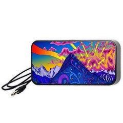 Psychedelic Colorful Lines Nature Mountain Trees Snowy Peak Moon Sun Rays Hill Road Artwork Stars Portable Speaker (black) by Simbadda