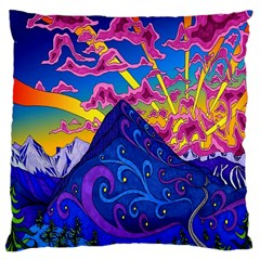 Psychedelic Colorful Lines Nature Mountain Trees Snowy Peak Moon Sun Rays Hill Road Artwork Stars Large Cushion Case (two Sides) by Simbadda