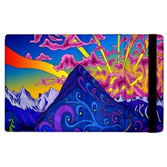 Psychedelic Colorful Lines Nature Mountain Trees Snowy Peak Moon Sun Rays Hill Road Artwork Stars Apple Ipad 2 Flip Case by Simbadda