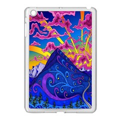 Psychedelic Colorful Lines Nature Mountain Trees Snowy Peak Moon Sun Rays Hill Road Artwork Stars Apple Ipad Mini Case (white) by Simbadda