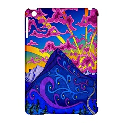 Psychedelic Colorful Lines Nature Mountain Trees Snowy Peak Moon Sun Rays Hill Road Artwork Stars Apple Ipad Mini Hardshell Case (compatible With Smart Cover) by Simbadda