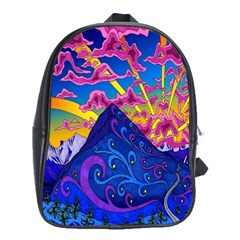 Psychedelic Colorful Lines Nature Mountain Trees Snowy Peak Moon Sun Rays Hill Road Artwork Stars School Bags (XL)  by Simbadda
