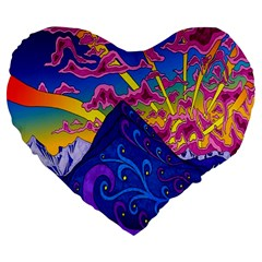 Psychedelic Colorful Lines Nature Mountain Trees Snowy Peak Moon Sun Rays Hill Road Artwork Stars Large 19  Premium Heart Shape Cushions by Simbadda