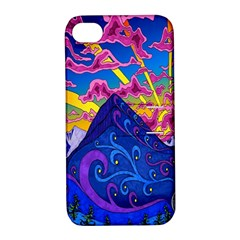 Psychedelic Colorful Lines Nature Mountain Trees Snowy Peak Moon Sun Rays Hill Road Artwork Stars Apple Iphone 4/4s Hardshell Case With Stand by Simbadda