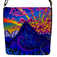 Psychedelic Colorful Lines Nature Mountain Trees Snowy Peak Moon Sun Rays Hill Road Artwork Stars Flap Messenger Bag (s) by Simbadda