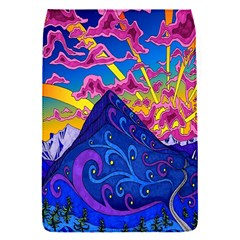 Psychedelic Colorful Lines Nature Mountain Trees Snowy Peak Moon Sun Rays Hill Road Artwork Stars Flap Covers (s)  by Simbadda