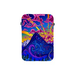 Psychedelic Colorful Lines Nature Mountain Trees Snowy Peak Moon Sun Rays Hill Road Artwork Stars Apple Ipad Mini Protective Soft Cases by Simbadda