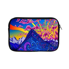 Psychedelic Colorful Lines Nature Mountain Trees Snowy Peak Moon Sun Rays Hill Road Artwork Stars Apple Ipad Mini Zipper Cases by Simbadda