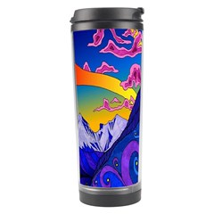 Psychedelic Colorful Lines Nature Mountain Trees Snowy Peak Moon Sun Rays Hill Road Artwork Stars Travel Tumbler by Simbadda
