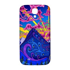 Psychedelic Colorful Lines Nature Mountain Trees Snowy Peak Moon Sun Rays Hill Road Artwork Stars Samsung Galaxy S4 I9500/i9505  Hardshell Back Case by Simbadda