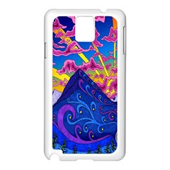 Psychedelic Colorful Lines Nature Mountain Trees Snowy Peak Moon Sun Rays Hill Road Artwork Stars Samsung Galaxy Note 3 N9005 Case (white) by Simbadda