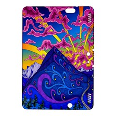 Psychedelic Colorful Lines Nature Mountain Trees Snowy Peak Moon Sun Rays Hill Road Artwork Stars Kindle Fire Hdx 8 9  Hardshell Case by Simbadda