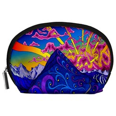 Psychedelic Colorful Lines Nature Mountain Trees Snowy Peak Moon Sun Rays Hill Road Artwork Stars Accessory Pouches (large)  by Simbadda