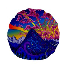 Psychedelic Colorful Lines Nature Mountain Trees Snowy Peak Moon Sun Rays Hill Road Artwork Stars Standard 15  Premium Flano Round Cushions by Simbadda