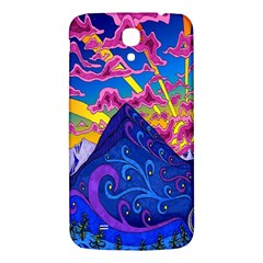 Psychedelic Colorful Lines Nature Mountain Trees Snowy Peak Moon Sun Rays Hill Road Artwork Stars Samsung Galaxy Mega I9200 Hardshell Back Case by Simbadda