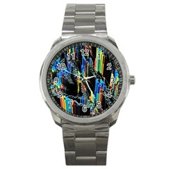 Abstract 3d Blender Colorful Sport Metal Watch by Simbadda