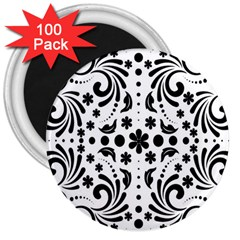 Leaf Flower Floral Black 3  Magnets (100 Pack) by Alisyart