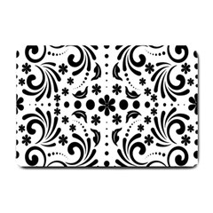 Leaf Flower Floral Black Small Doormat  by Alisyart