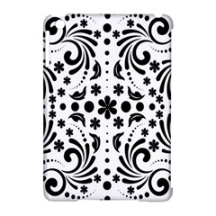 Leaf Flower Floral Black Apple Ipad Mini Hardshell Case (compatible With Smart Cover) by Alisyart