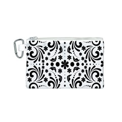 Leaf Flower Floral Black Canvas Cosmetic Bag (s) by Alisyart