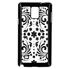 Leaf Flower Floral Black Samsung Galaxy Note 4 Case (black) by Alisyart